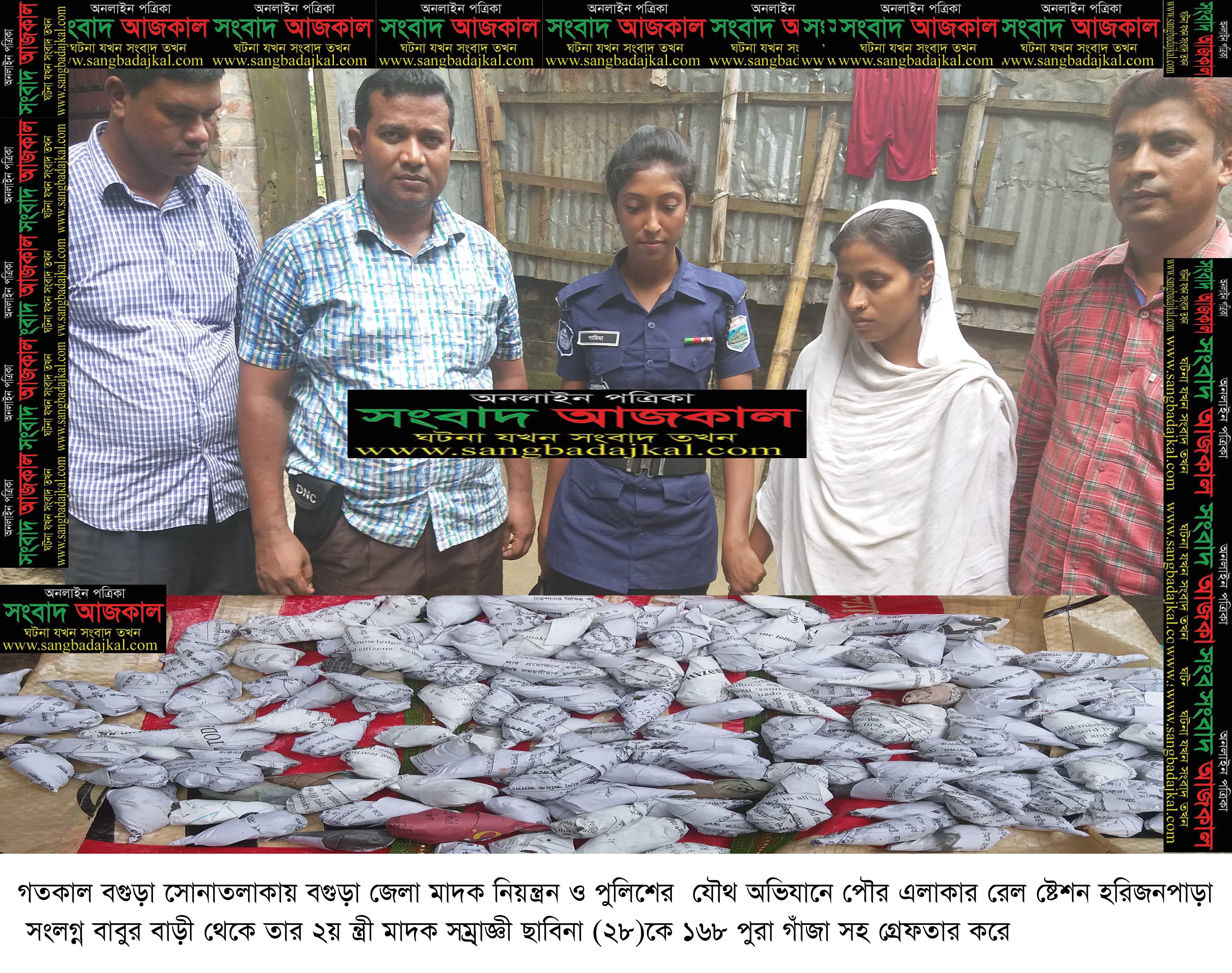 সোনাতলায় ১৬৮টি পুরা গাঁজাসহ  মাদক সম্রাজ্ঞী ছাবিনা আটক